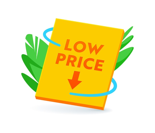 Low price banner or icon, promo offer for sale, tag, cost reduction, discount label. price off promotion, rebate sticker or emblem for black friday isolated on white background. vector illustration