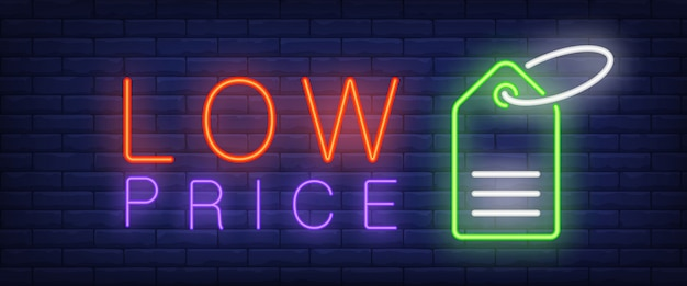 Low price neon text with tag Free Vector