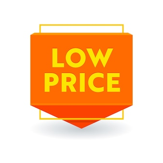 Low price promotional arrow tag, isolated banner or icon, sale promo offer, cost reduction, discount label. price off rebate sticker or emblem, coupon design on white background. vector illustration