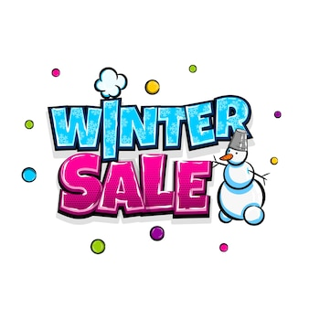 저렴한 가격 겨울 판매 만화 텍스트 팝 아트 광고 귀여운 만화책 계절 요금 포스터 문구