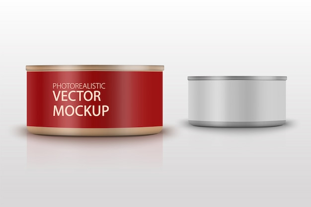 Low-profile matte tuna can with label on white background. photo-realistic packaging   template with sample design. 3d illustration.
