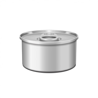 Low-profile tin can with opener. packaging template.