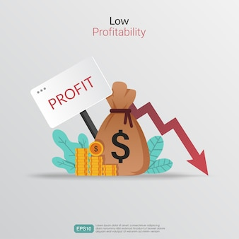 低収益性の概念。減少矢印の図と利益損失のシンボル。