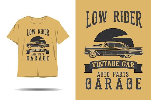 Низкий гонщик винтажный автомобиль автозапчасти гараж силуэт дизайн футболки