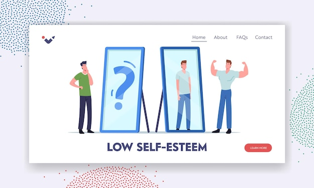 Low self esteem, anger landing page template. angry athlete man show muscles to mirror see weak skinny reflection of his body. male character need psychological help. cartoon vector illustration
