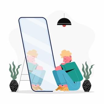 Плоский дизайн иллюстрации низкой самооценки