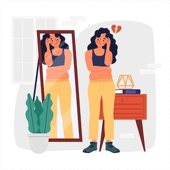 低い自尊心のイラスト