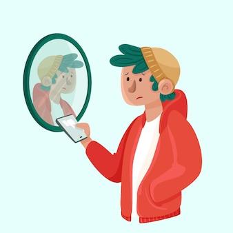 Низкая самооценка с мужчиной и зеркалом