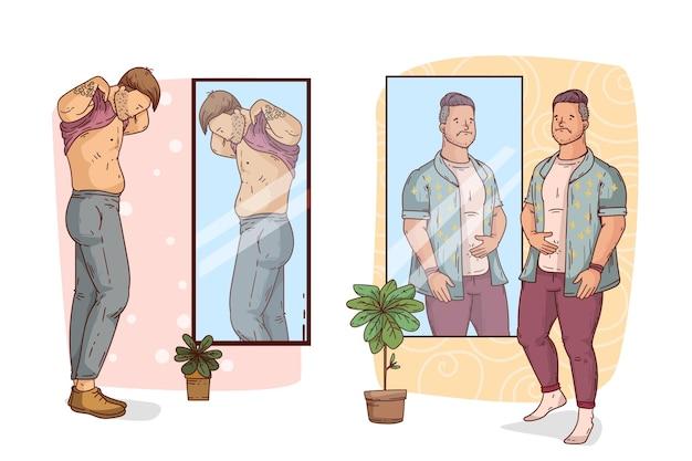 男性と鏡との低い自尊心