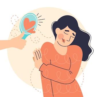 女性と鏡との低い自尊心