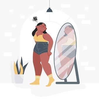 Низкая самооценка с женщиной и зеркалом
