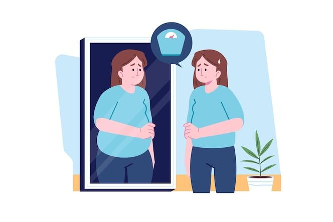 Bassa autostima con donna e specchio