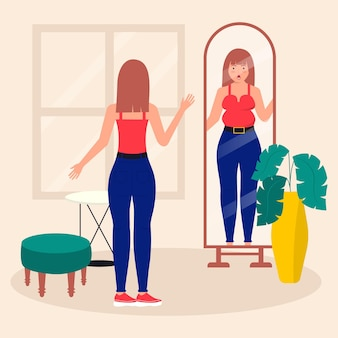 Low self-esteem with woman and mirror