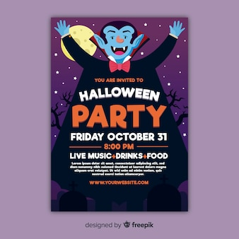 Low view of smiley dracula halloween party poster
