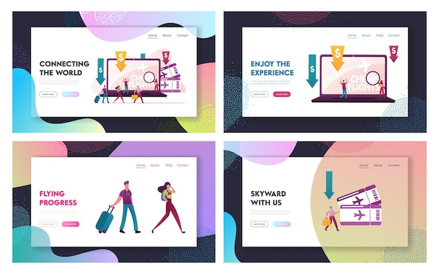 Lowcoster, cheap flight and saving vacation budget landing page templates set.