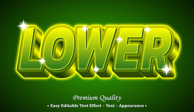 Lower 3d editable text style effect Premium Vector