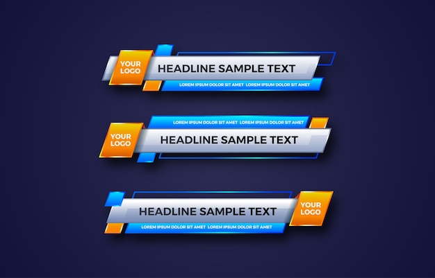 Lower third banner. tv, bars, set. streaming video. breaking news,sport news, interface, design template