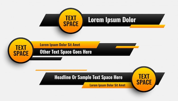 Lower third banners in circle and geometric style