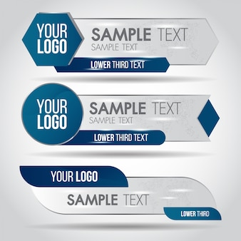 Lower third blue design template modern contemporary. set of banners bar screen broadcast bar