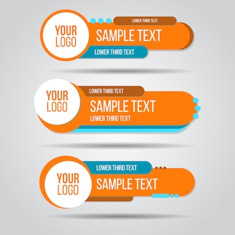 Lower third colorful design template modern contemporary. set of banners bar screen