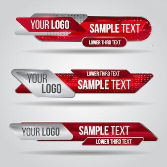Нижний третий красный дизайн шаблона модерн современный. набор баннеров, бар, экран, трансляция названия бара