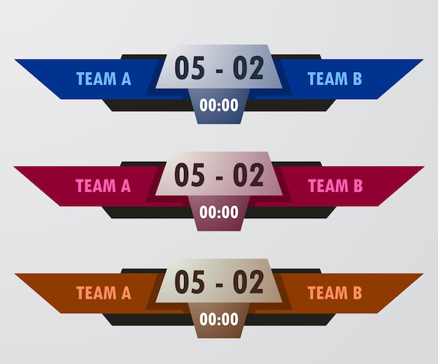 Lower third scoreboard team a vs team b broadcast graphic template for sport, soccer, and football