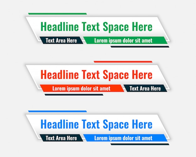 Lower third wide banners with text space