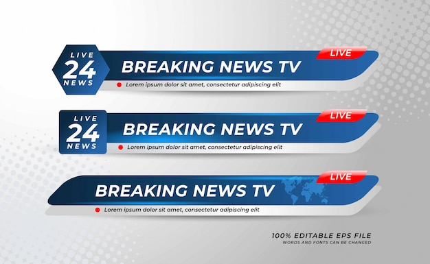 Lower thirds banner template for television