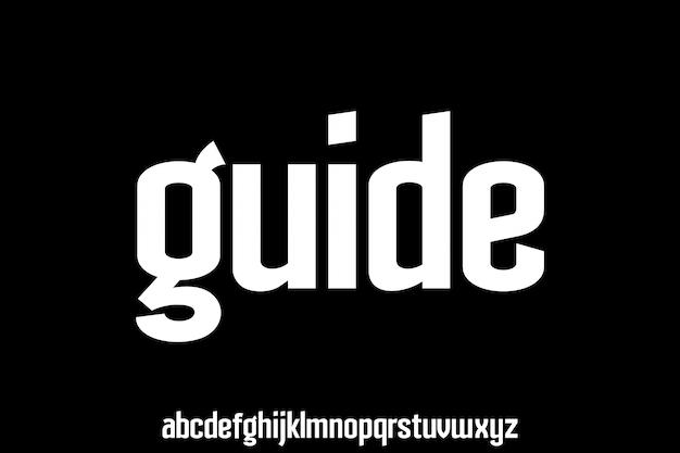 Lowercase modern unique font alphabet typeset