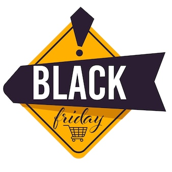 Lowering of prices for black friday, sale and discounts on products in shops and stores. banner with calligraphy inscription and shopping cart. advertisement of clearance vector in flat style
