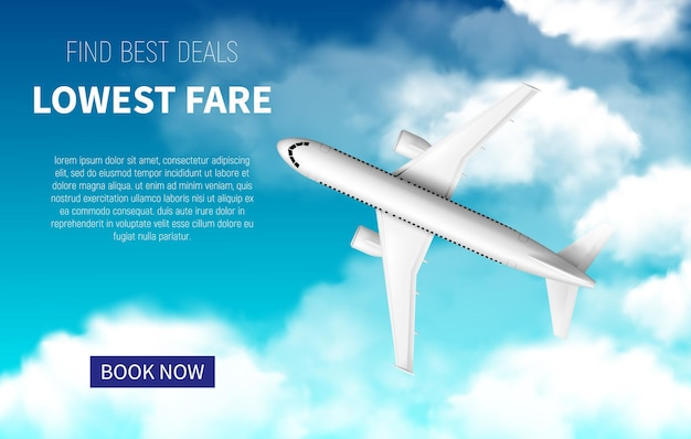 Lowest fare poster, cheap flight business promotion with realistic 3d airplane. book now online travel service. airline promo internet offer, tickets sale. white plane flying in blue cloudy sky