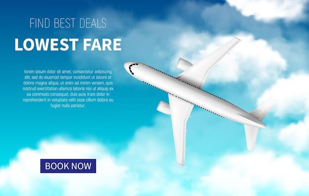Плакат с самым низким тарифом, продвижение дешевых полетов с реалистичным 3d-самолетом. забронируйте сейчас онлайн-сервис путешествий. интернет-предложение авиакомпаний, продажа билетов. белый самолет, летящий в синем облачном небе