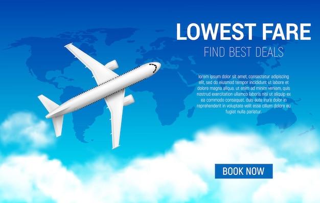 Плакат с самым низким тарифом с реалистичным самолетом. акция дешевого авиаперелета, промо-предложение авиакомпаний, продажа билетов. забронируйте сейчас онлайн-сервис путешествий, 3d самолет летит в небе с картой мира и облаками