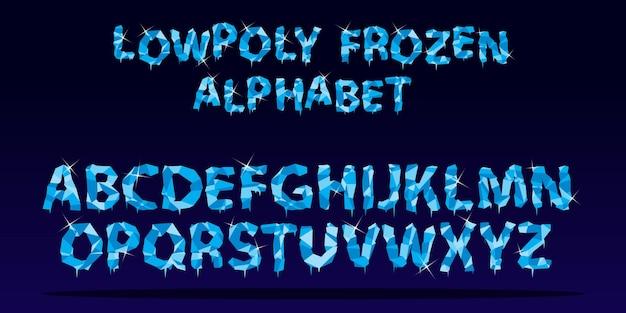 Низкополигональный алфавит в стиле замороженного льда