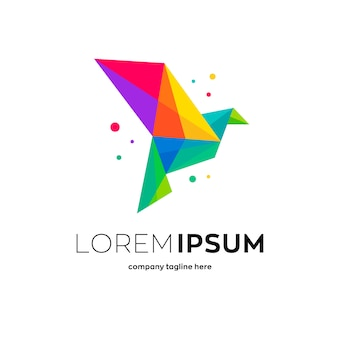 Lowpoly紙鳥ロゴ