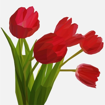 Lowpoly of red tulips