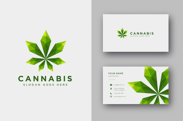 Современная геометрическая эмблема, вдохновленная коноплей / каннабисом / марихуаной, в стиле lowpoly и шаблон визитной карточки