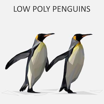 Lowpoly вектор пингвинов