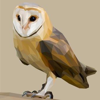フクロウ鳥のlowpolyアート