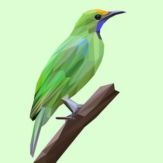 Lowpolyスタイルと熱帯の緑の鳥
