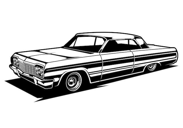 黒と白のローライダークラシックカーのシルエットイラスト