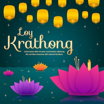 Loy krathong celebration flat design