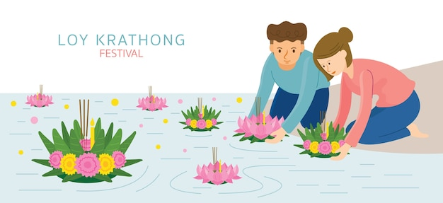 Loy krathong festival, couple, man and woman, celebration and culture of thailand