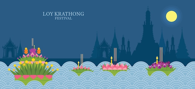 Loy krathong festival, night and temple background