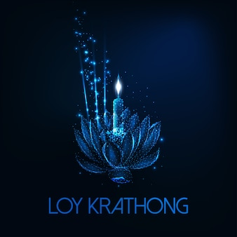 Loy krathong tai festival edsign with floating glowing low poly lotus flower, candle and aroma stick