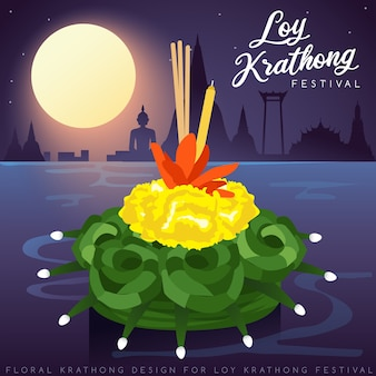 Loy krathong, thai traditional festival with full moon, pagoda and temple background