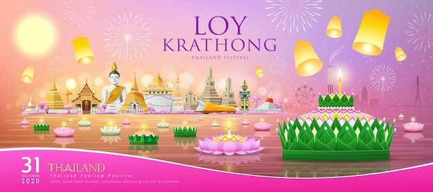 Loy krathong thailand festival, banana leaf material