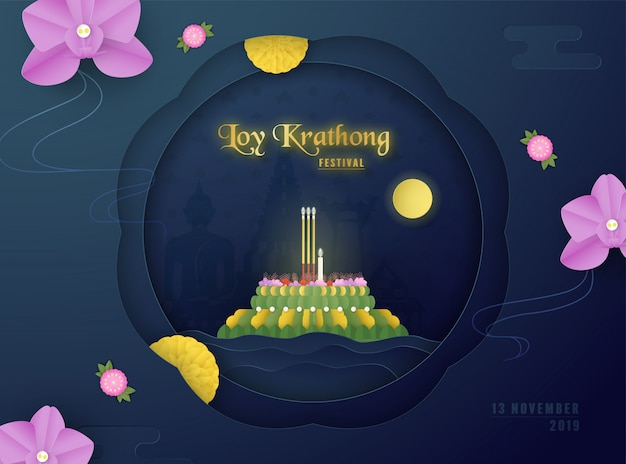 Loy kratong festival of thai people, indian, chinese.