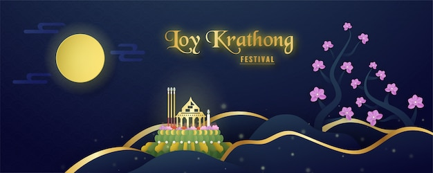 Loy kratong festival of thai people.