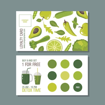 Loyalty card for detox program with greens